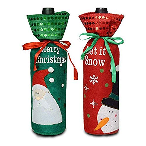 Christmas Wine Bottle Covers with Drawstring
