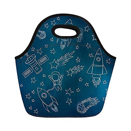 Stars and Meteorites Rockets Astronauta Satellites Dibujo Boceto Aislado Bolsas de almuerzo de neopreno para las mujeres para el trabajo adultos hombres niños Picnic lonchera moderna bolsa de almuerzo