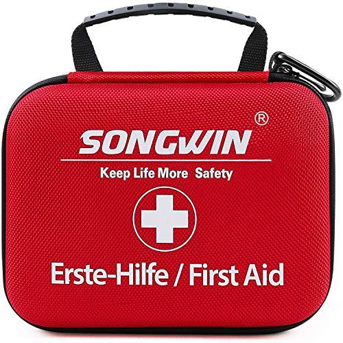 Songwin Erste Hilfe Set, Wasserdicht Verbandskasten Mini Erste Hilfe Tasche für Wandern, Outdoor, Fahrrad & Reise Zubehör für die Erstversorgung der häufigsten Notfälle nach DIN 13167