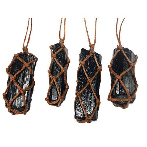 Eternitry Piedras Preciosas crudas Retro Turmalina Negra Natural Tejido a Mano Piedra de Chorro Mineral Protección contra la radiación Colgante Cristal richly