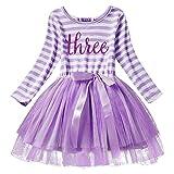 Iwemek Newborn Baby Girl Princess Long Sleeve Shinny Stripe Crown Printed 1st/2nd/3rd Birthday Cake Smash Tulle Tutu Skirt Dress, Purple (3 Years), One Size
