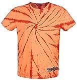 R.E.D. by EMP Red X CHIEMSEE - Orange/rotes Batik T-Shirt Hombre Camiseta Rojo/Naranja S