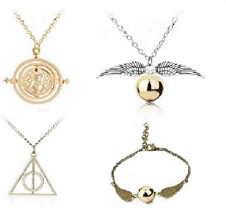 LEECCO 5 pcs Inspired DIY Necklace and Bracelets Set,Time-Turner Deathly Hallows Golden Snitch Necklace and Link Bracelets for Hogwarts Gifts or Decorations