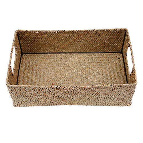 Hand-woven hollow handle receive the cane makes up straw basket box bin bin rural wind Wicker Crafts