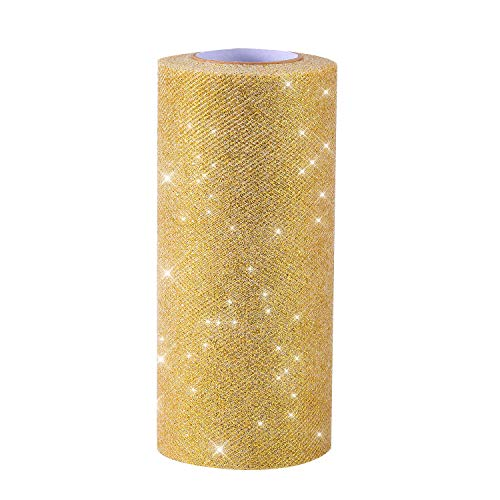 Senkary Glitter Tulle Roll Sparkling Tulle Ribbon Tulle Spool 6 Inch by 25 Yards (Gold)