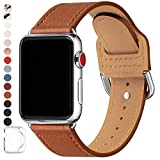 POWER PRIMACY Bands Compatible with Apple Watch Band 38mm 40mm 42mm 44mm, Top Grain Leather Smart Watch Strap Compatible for Men Women iWatch Series 6 5 4 3 2 1,SE(Brown/Silver, 38mm/40mm)