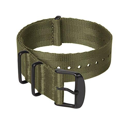 Archer Watch Straps   Correas NATO de Nylon Cinturón de Seguridad   Correa de Reloj Diseño Militar   Verde Oliva/Piezas Metálicas en Negro, 22mm