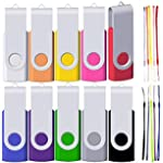 4GB Flash Drive 10 Pack FEWINA Multipack USB Drive 4 GB Memory Stick USB 4GB Jump Drives 4 Gig Zip Drive Pendrive for Data Storage (Multi-Color with 10 Lanyards)