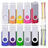 16GB USB Flash Drives 10 Pack, FEWINA Multipack 16 Gig USB Drive 16 GB Memory Stick Thumb Ddrive, Jump Drives, Zip Drive Pen Drive for Data Storage (Multi-Color with 10 Lanyards)