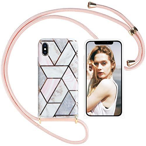 Nupcknn Funda Marmol con Cuerda para iPhone X/XS, Carcasa TPU Suave Silicona Case con Correa Colgante Ajustable Collar Correa de Cuello Cadena Cordón(Oro Rosa)