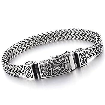 COOLSTEELANDBEYOND Stainless Steel 8.5 in Franco Link Curb Chain Bracelet for Men Vintage Fleur de Lis Spring Box Clasp
