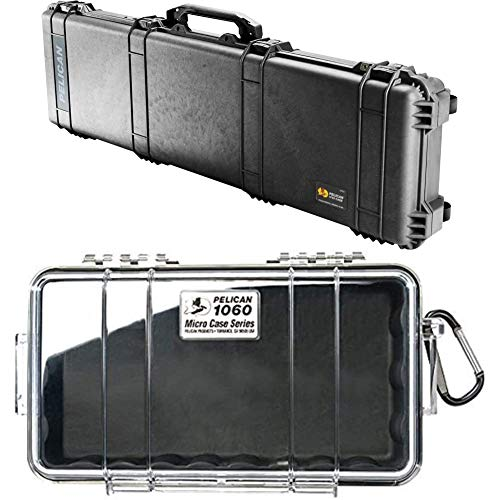 Pelican Select Bundle 1750 Rifle Case with Foam (Black) 1060 Micro Case (Black/Clear)
