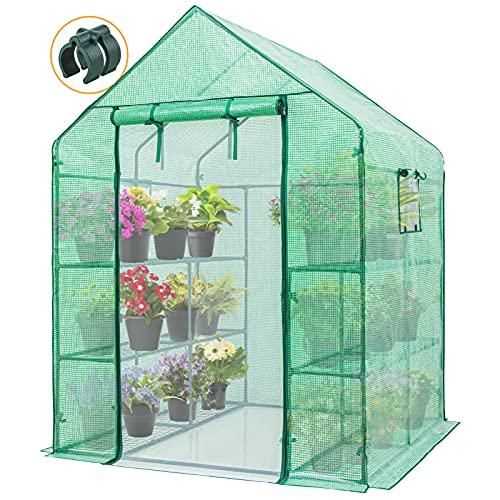 EAGLE PEAK Outdoor / Indoor Walk-in Greenhouse 3 Tiers 12 Shelves with Dual Roll-up Zipper Door & Screen Mesh Door, Portable Gardening Plant House with 2 Mesh Vents 56'' x 56'' x 77'', Green