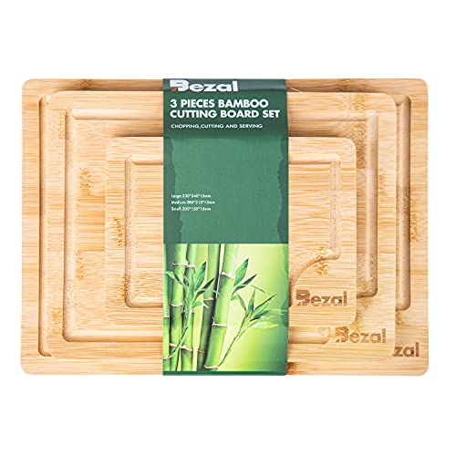 Bezal - Bamboo Cutting Board Set of 3 with Deep Juice Grooves; Organic Chopping Board for Meats and Vegetables; Cheese Board and Serving Tray