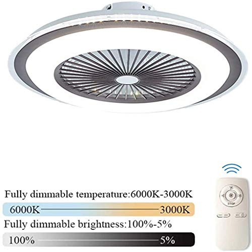 LLDS Plafondventilator Met Creative Verborgen Lamp LED Ceiling Fan Remote Control Dimbare Ultra Quiet Fan Can Timing Chandelier Room Children Fan Lamp,Brown