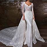 abiti da sposa abiti da sposa sirena dell'innamorato abito da sposa sexy perline maniche lunghe abiti di cerimonia nuziale staccabile gonna abiti da cerimonia ( color : white , us size : 16 )