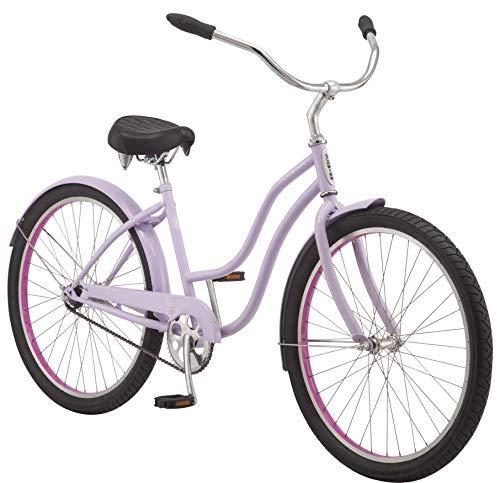Schwinn Mikko Adult Beach Cruiser Bike, Featuring 17-Inch/Medium Steel Step-Over Frames, 1-Speed Drivetrains, Purple