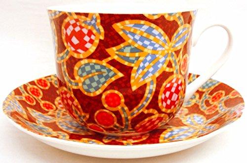 Mosaïque Petit Déjeuner Tasse Et Soucoupe en porcelaine anglaise Grand Mosaïque marron bordeaux Tasse & soucoupe décorée à la main au Royaume-Uni Livraison gratuite au Royaume-Uni