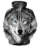 YTTde Sudadera unisex de manga larga, diseño de lobo en 3D, impresión digital, para deportes, uso diario, fiesta, XXXL