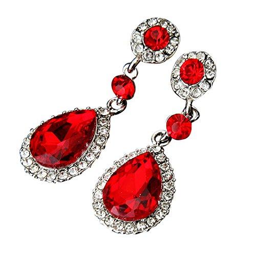 minshao joya de la boda Rhinestone Pendientes de boda de estilo para mujer rojo rosso Talla:5*1.8cm