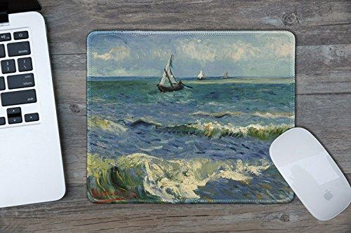 dealzEpic - Art Mousepad - Natural Rubber Mouse Pad with Famous Fine Art Painting of Seascape Near Les Saintes-Maries-de-la-Mer by Vincent Van Gogh - Stitched Edges - 9.5x7.9 inches Photo #3
