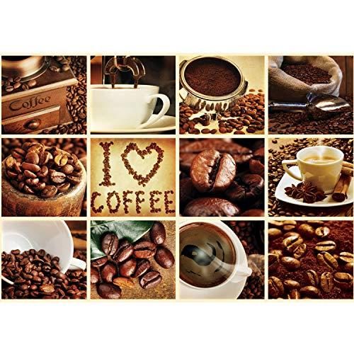 Vlies Fototapete PREMIUM PLUS Wand Foto Tapete Wand Bild Vliestapete - Kaffee Barista Kaffeebohnen Rahmen - no. 3279, Größe:368x254cm Vlies