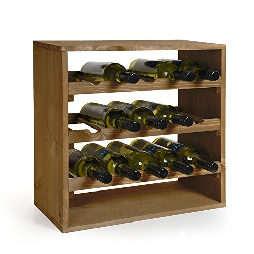 Kesper Weinflaschen-Regalsystem aus FSC Kiefer, 50x50x25 cm
