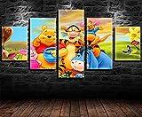 REWE 5 Impresiones en Lienzo Póster de la película Little Bear-B_200 × 100CM Decoración Cuadros Infantiles Salon Pared Cuadro Habitacion Moderna Decoración Hogareña Impreso sobre Lienzo