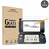 (4-Pack) AKWOX Tempered Glass Top LCD Screen Protector + HD Clear Crystal Buttom LCD Screen Protective Filter compatible with for New Nintendo 2DS XL [2 GLASS Top, 2 PET Bottom]
