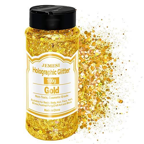 JEMESI Gold Glitzer Make up,100g Glitzer Gesicht, Holografischer Glitzer Sequin Chunky Glitter für Gesicht Nägel Augen Lippen Haare Körperm, für Halloween Party Weihnachten