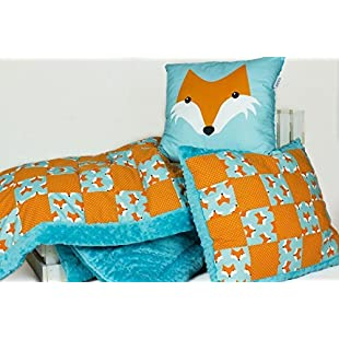 Customer reviews Toddler Quilt Set. Handmade Patchwork Baby Blanket, and Two Pillows. Fox:Cartoonhd