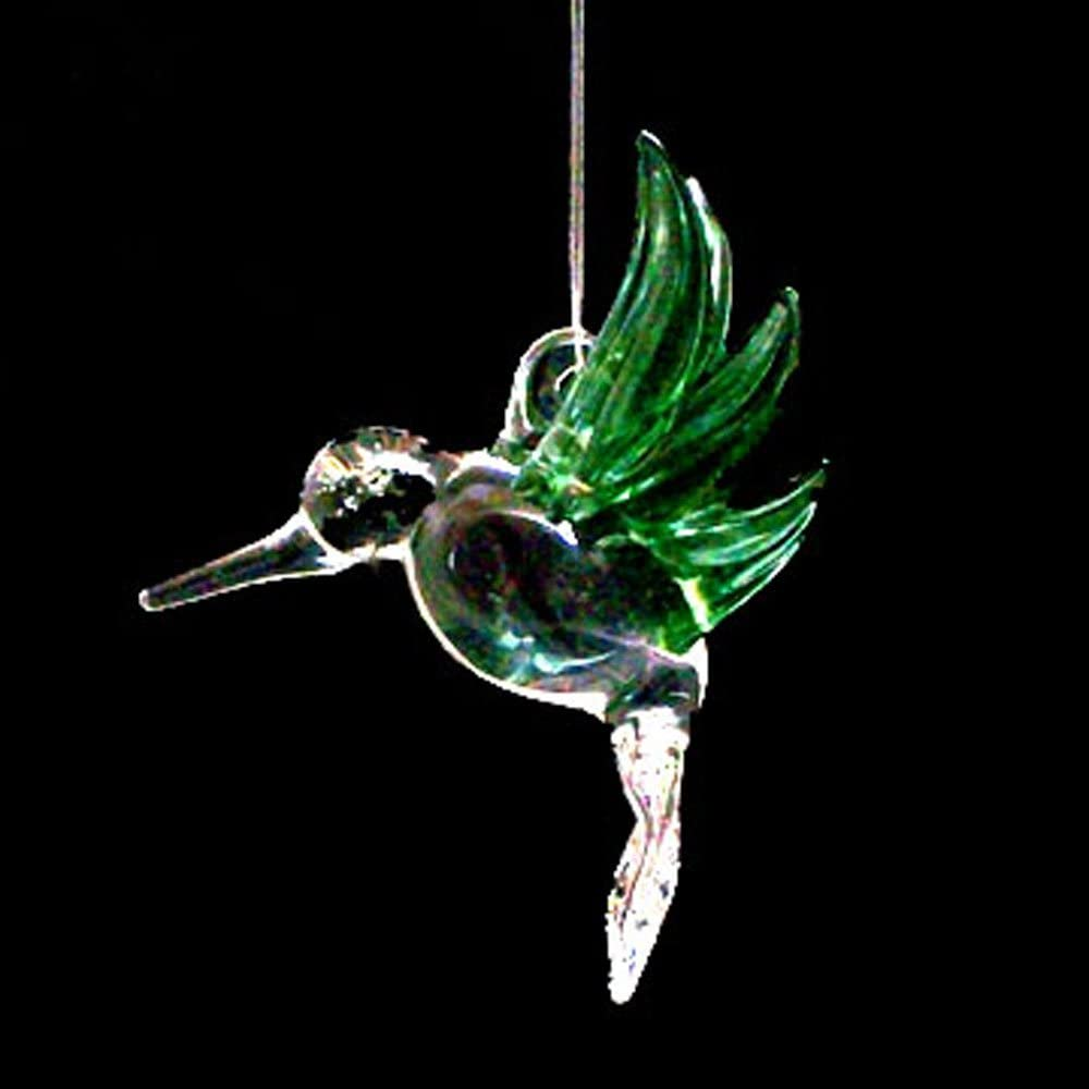 Hand Blown Glass Hanging Hummingbird Dealing shopping full price reduction with Green Ornament Wings