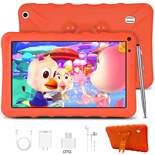 Kids Tablet, Android 9.0 GO Kids Learning Tablets 9 inch IPS HD Eye Protaction Display, 2GB RAM & 32GB ROM for Home School Education - Google Certified Pre-Loaded Children Educational Apps (Orange)