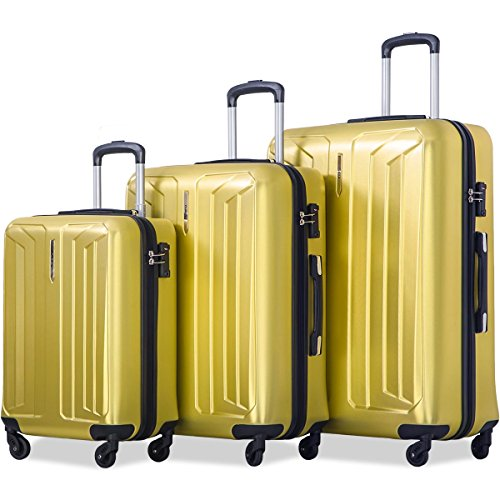 Flieks Luggage 3 Piece Sets Spinner Suitcase with TSA Lock, Lightweight 20 24 28 (Yellow)