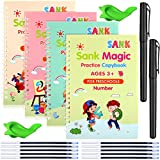 4 Pieces English Calligraphy Copybook Reusable Handwriting Practice Copybook with Pens Stationery Set Alphabet, Math, Number, Drawing Writing Practice Workbook for Children Kids
