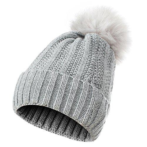 GLOUE Women's Winter Beanie Warm Fleece Lining - Thick Slouchy Cable Knit Skull Hat Ski Cap (Grey)