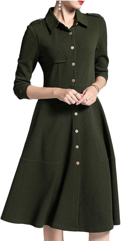 LEISHOP Women's Single Breasted Long Sleeve Button Collar Mini Blazer Dress