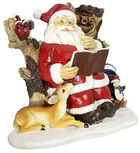 Trendyshop365 Santa Claus made of polyresin, height approx. 20 m, hand-painted, with many loving details: with book sitting in the tree trunk, next to sparrows and penguin, fawn and owl.
