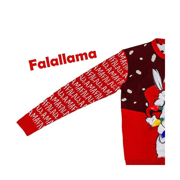 Men's Santa Llama Christmas Holiday Ugly Sweater with Built-in Light-up Bulbs