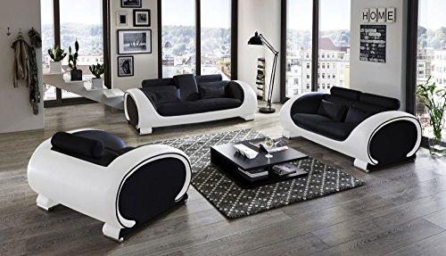 SAM Garnitur Vigo 3 teilig, schwarz/weiß, Couch aus Kunstleder