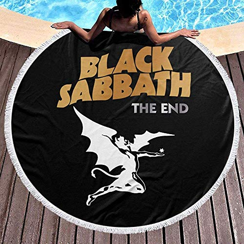 Toalla de Playa Manta de Toalla de Playa Redonda con borlas Tapiz de Picnic Tapiz Redondo (Black Sabbath The