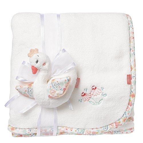 Fehn 062182 Kuscheldecke Schwan | Kuschelige Schmusedecke für Babys und Kleinkinder ab 0+ Monaten - zum Kuscheln, als Krabbelunterlage oder Schnuffeltuch | Maße: 100x75cm