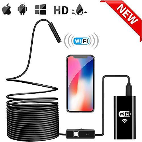 Endoscopio Inalámbrico, Cámara de Inspección WiFi Boroscopio 2.0 Megapíxeles 720P HD Impermeable Serpiente Cable Cámara con 6LED Ajustable para Android iOS iPhone Mac Windows PC (5M)