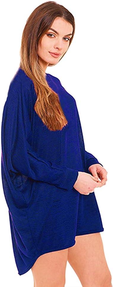 Women's Plus Plain Oversized Long Sleeve Baggy Batwing Knit Dip Hem Ladies Top Loose Fit Summer Shirts UK Sizes 8-26