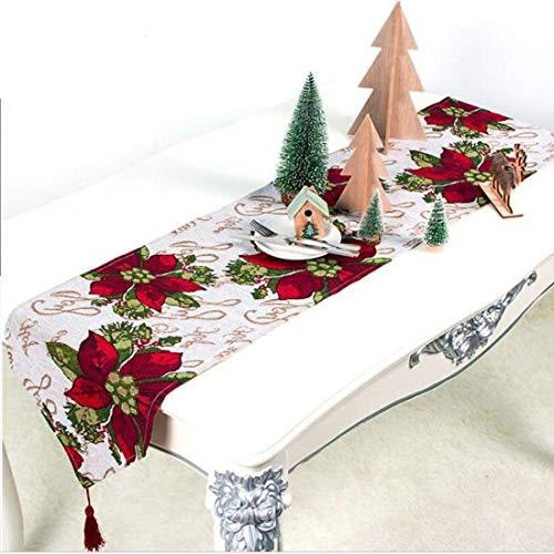 34 x 180 cm Weihnachten Tischläufer Stickerei Elch rot-bunt Desktop Küche Raumdekor Tischset Tee Tisch Hochzeitsbankett Haushaltsdekoration