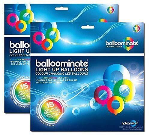 balloominate leuchtende LED Luftballons, Party Ballons - Set mit 30 Stück - leuchten bis 15 Stunden - Multi