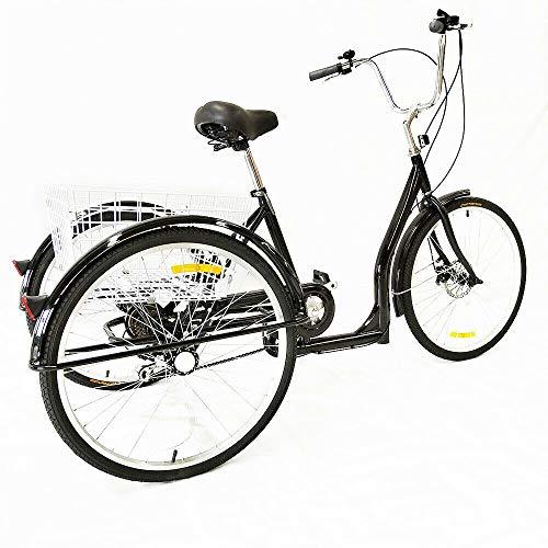 MOMOJA Tricycle 3 Roues pour Adulte 26 ' avec Panier Arrière 6 Vitesse