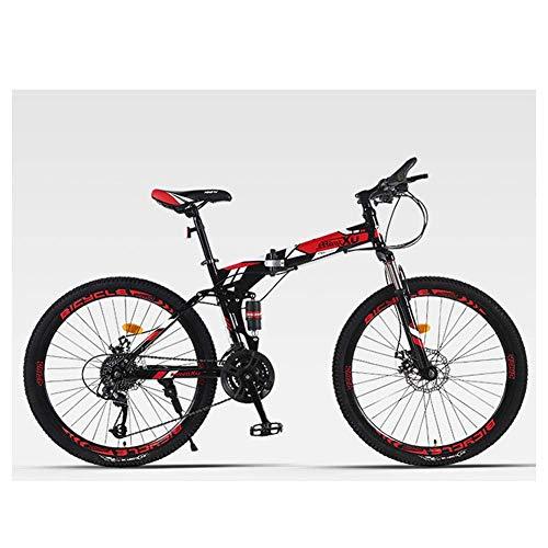Unbekannt Mountainbike 27 Beschleunigt Mens Stoßdämpfung Mountain Bike 26' Reifen High-Carbon Stahlrahmen Doppelaufhebung mit Doppelscheibenbremse,Schwarz