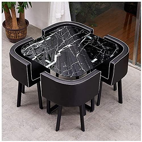 Mesa de comedor, Mesa de comedor redonda de vidrio templado de cuero PU asiento de 90 cm transparente mesa de ocio, mesa para comedor (color: mesa cuadrada 2)