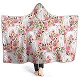 Auld-Shop Manta con Capucha para Perros Y Flores Coral Plush Ultra Plush Sherpa Lined Wear Ropa De Abrigo con Capucha